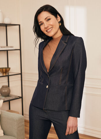 Veste en denim à col cranté, Bleu,  veste, col cranté, manches longues, boutons, surpiqûres, printemps été 2021