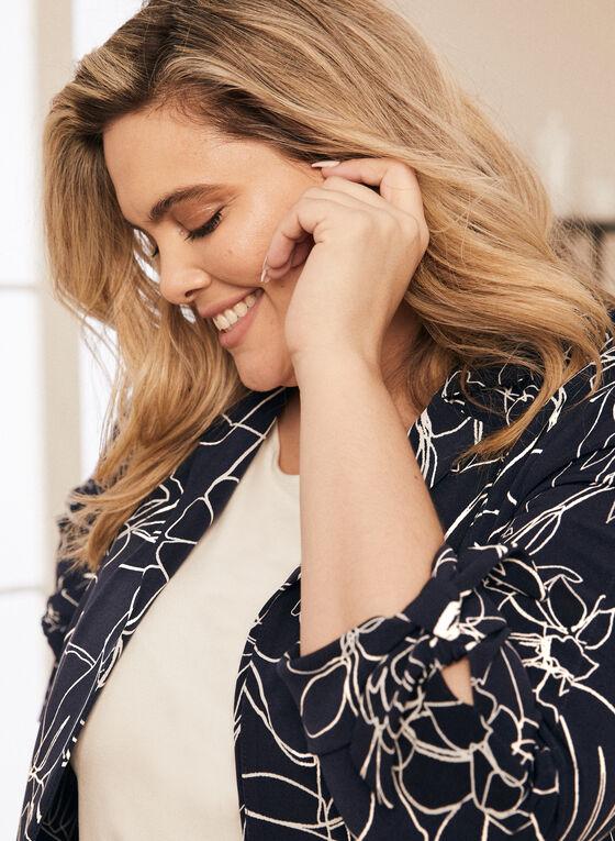 Joseph Ribkoff - Floral Print Tie Sleeve Jacket, Blue