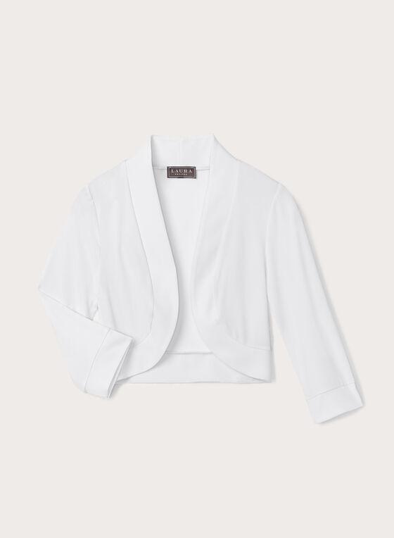 Boléro en jersey à manches ¾, Blanc, hi-res