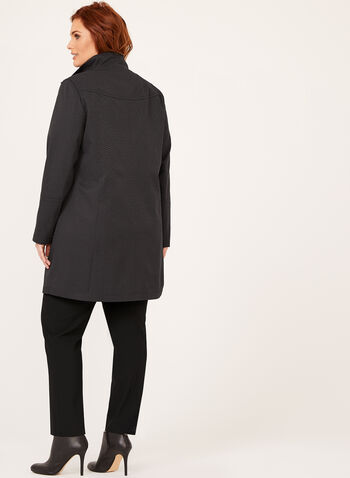 Mandarin Collar Jacquard Coat , Black, hi-res