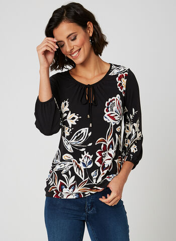 ¾ Sleeve Floral Print Top, Multi, hi-res