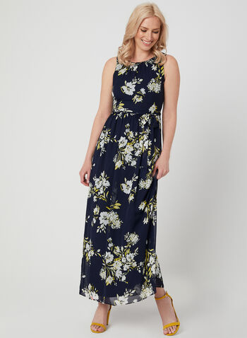 Floral Print Chiffon Maxi Dress, Blue, hi-res