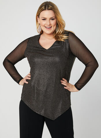 Mesh Sleeve Blouse, Black, hi-res