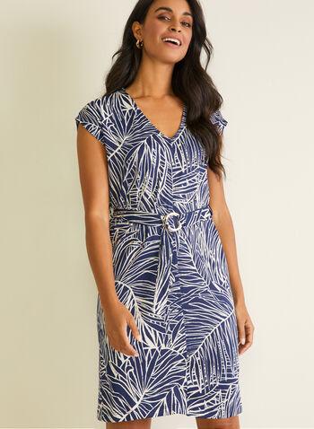 Robe droite motif tropical à ceinture, Bleu,  robe de jour, droite, tropical, mancherons, ceinture, col v, printemps été 2020