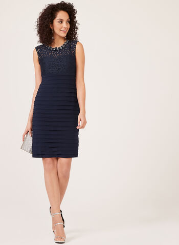 Sleeveless Crystal Neck Dress, Blue, hi-res