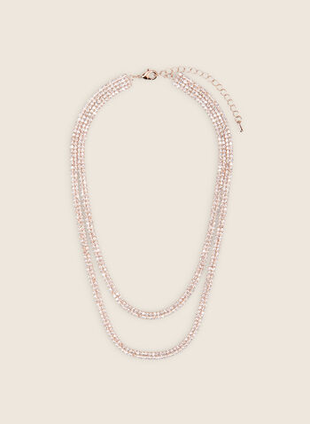 Double Row Crystal Necklace, Pink,  necklace, double, chain, crystals, metallic, spring summer 2020