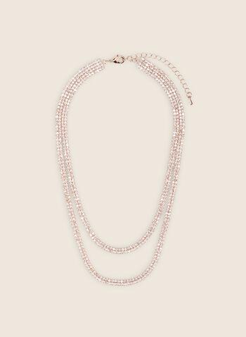 Collier à double rangées de cristaux, Rose,  collier, court, cristaux, double, printemps été 2020