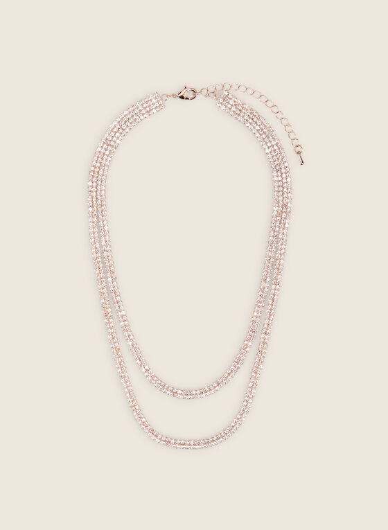Double Row Crystal Necklace, Pink