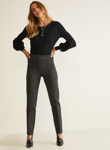 Pantalon pull-on à jambe étroite, Gris,  pantalon, pull-on, étroit, point de rome, similicuir, automne hiver 2020