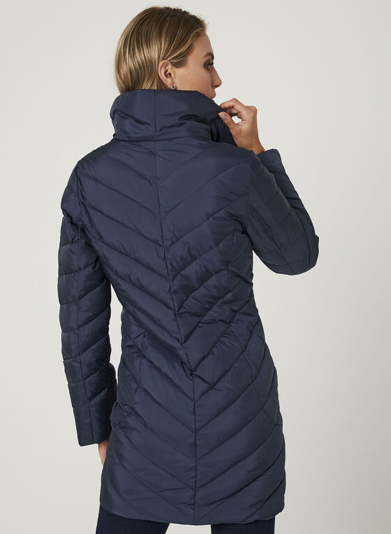 Anne Klein – Quilted Down Coat, Blue