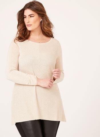 Pull tunique en tricot, Blanc cassé, hi-res