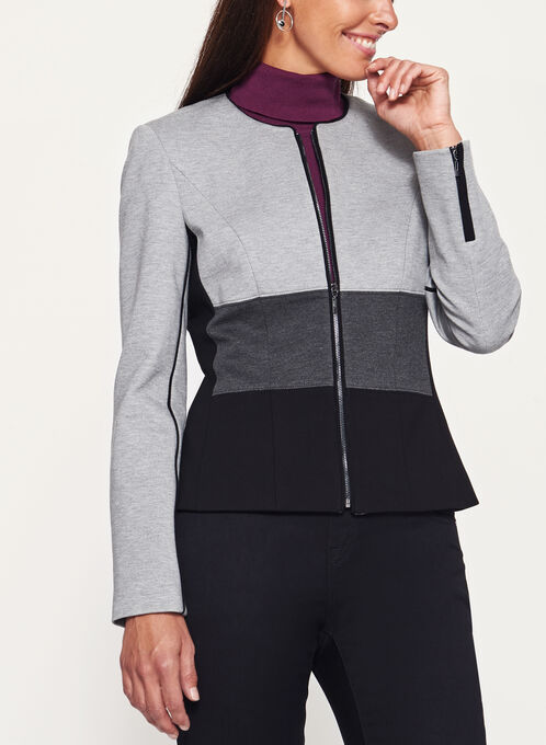 Colour Block Zipper Trim Ponte Jacket, Black, hi-res