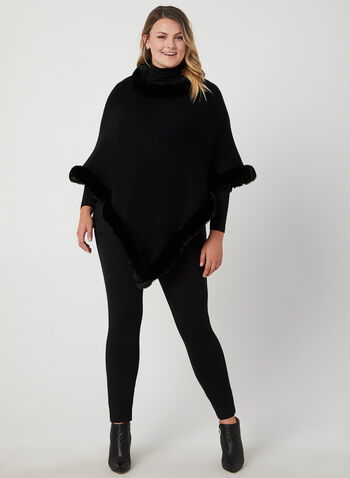 Faux Fur Trim Poncho, Black, hi-res,  poncho wrap, knit fabric, asymmetric hemline, fall 2019, winter 2019