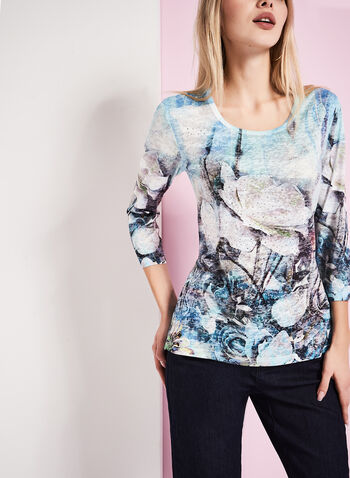 3/4 Sleeve Floral Burnout Top, , hi-res