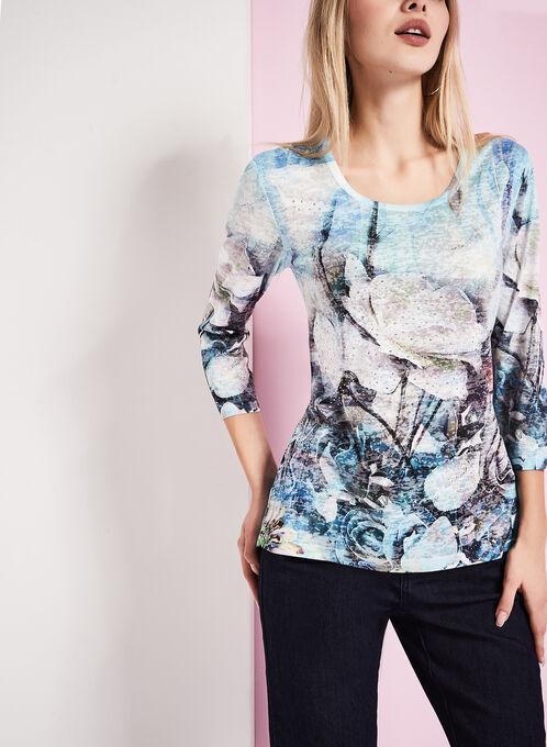 T-shirt manches 3/4 à fleurs, Bleu, hi-res