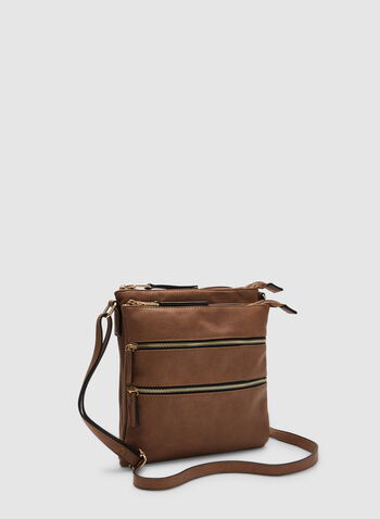Zipper Crossbody Bag, Brown,  fall winter 2019, crossbody, faux-leather