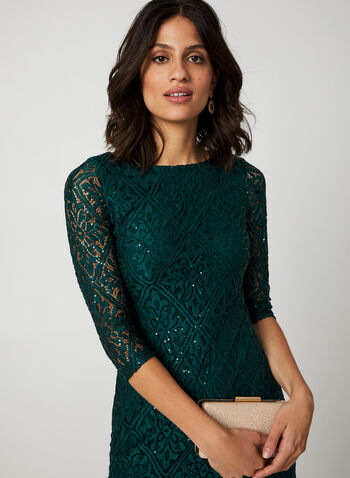 Sequined Lace Cocktail Dress , Green,  cocktail dress, sequin, lace, 3/4 sleeves, fall 2019, winter 2019