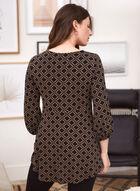 Puffed Sleeve Geometric Print Top, Black