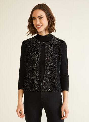 Partially Open Rhinestone Cardigan, Black,  cardigan, knit, rhinestones, hook & eye, 3/4 sleeves, fall winter 2020