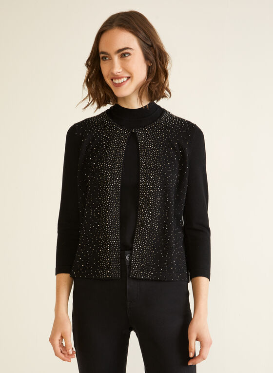 Partially Open Rhinestone Cardigan, Black