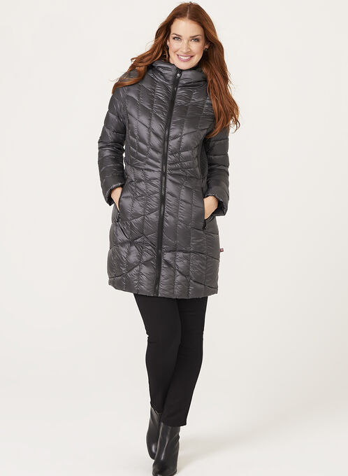 B by Bernardo - PrimaLoft® & Down Filled Packable Coat , Grey, hi-res