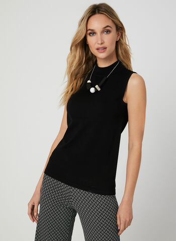 Sleeveless Mock Neck Top, Black, hi-res,  knit, ribbed, fall 2019, winter 2019