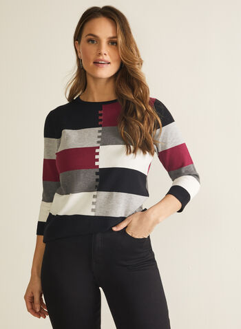 Colour Block Sweater, Red,  fall winter 2020, sweater, knit, top, colour blocks, round neck, 3/4 sleeves, ¾ sleeves