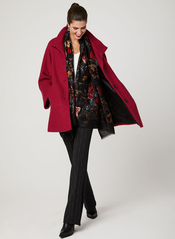 Bouclé Wool Coat, Red, hi-res