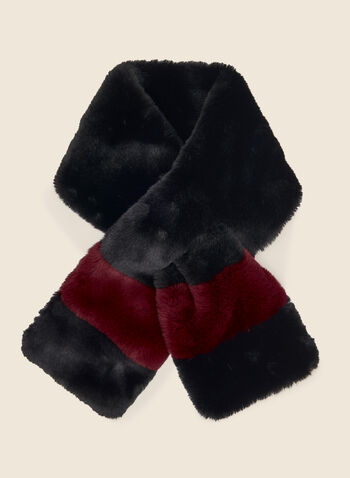 Colour Block Pull-Through Scarf, Black,  scarf, pull-through, faux fur, colour block, winter, fall winter 2020