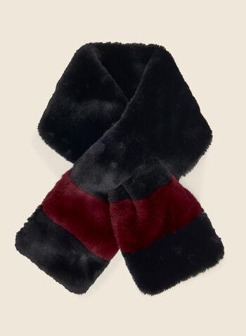 Col-écharpe à blocs de couleur , Noir,  col, écharpe, fausse fourrure, foulard, hiver, automne hiver 2020, blocs de couleur