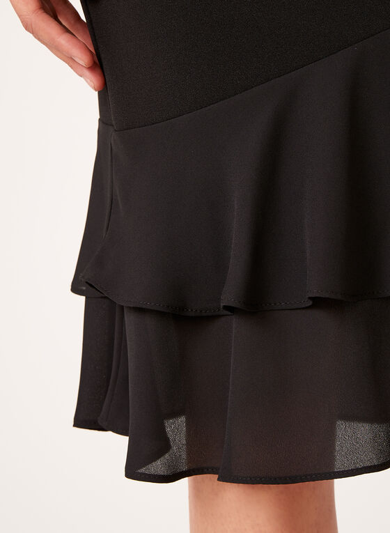 Crepe Layered Ruffle Detail Skirt, Black, hi-res