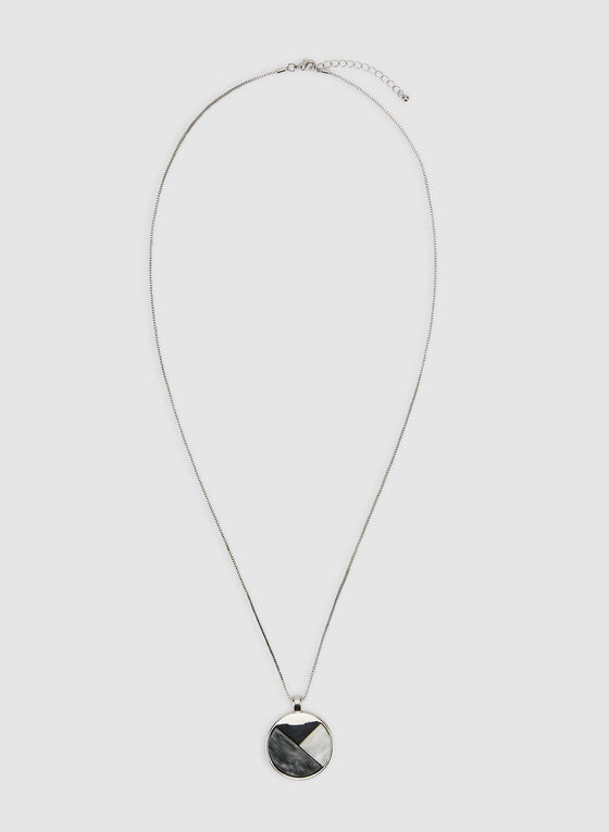 Round Pendant Chain Necklace, Grey, hi-res