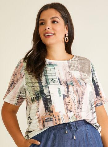 T-shirt motif urbain et strass, Vert,  t-shirt, col dégagé, manches courtes, ville, jersey, printemps été 2020