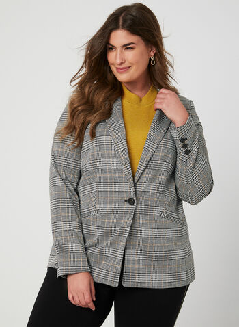 Plaid Print Blazer, Black,  notch collar, long sleeves, long blazer, stretchy, fall 2019, winter 2019, one button