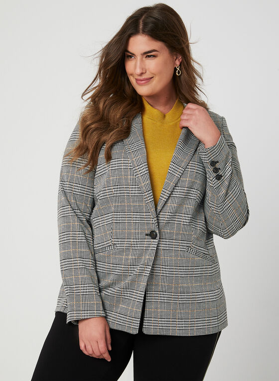 Plaid Print Blazer, Black