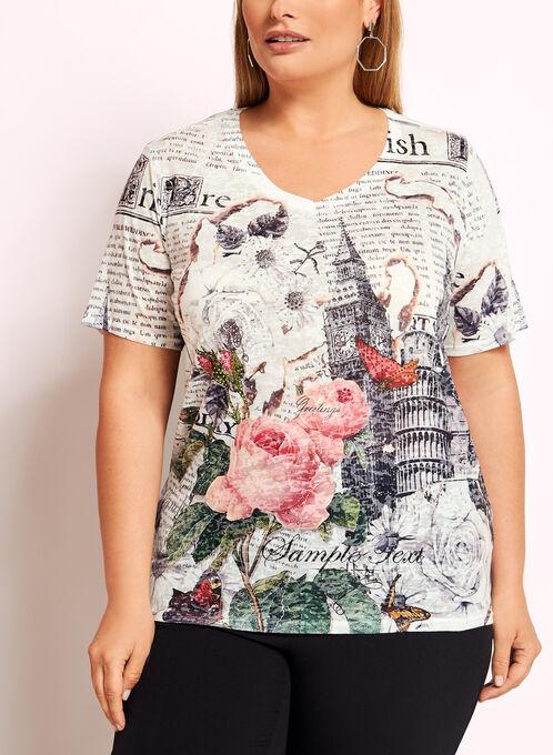 T-shirt motif londonien et brillants, Gris, hi-res
