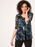 Floral Print Layered Mesh Top , Blue, hi-res