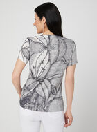 Floral Print Burnout T-Shirt, Blue