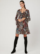 Paisley Print A-Line Dress, Red, hi-res