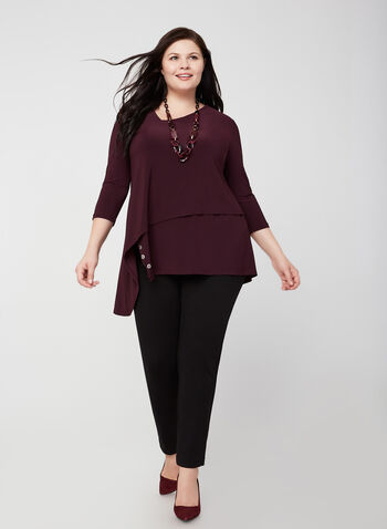 Joseph Ribkoff - Asymmetric Jersey Tunic, Purple,  fall winter 2019, 3/4 sleeves, jersey, asymmetric