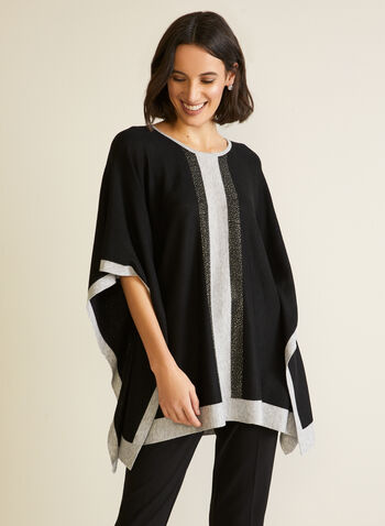 Two Tone Beaded Poncho, Black,  fall winter 2020, poncho, top, sweater, pullover, knit, two tone, colour block, contrast, beaded, metallic, draped