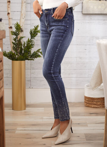 Rhinestone Hem Slim Leg Jeans, Blue,  fall 2021, online exclusive, jeans, denim, stretch denim, mid rise, slim leg, 5 pocket, pants