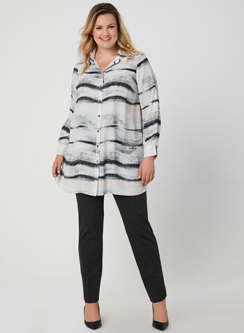Brush Stroke Print Blouse, Grey, hi-res,  blouse, long sleeves, button down, crepe, brush stroke, tunic, fall 2019, winter 2019