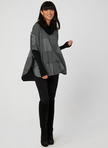Houndstooth Poncho Sweater, Black, hi-res,  poncho, long sleeves, ribbed, knit, cowl neck, fall 2019, winter 2019