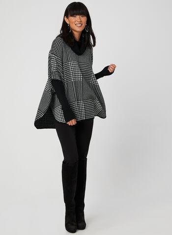 Pull poncho à col roulé, Noir, hi-res,  pull, poncho, manches longues, col roulé, pied-de-poule, tricot, acrylique, automne hiver 2019