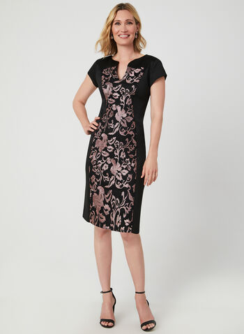 Embroidered Midi Dress, Black,  short sleeves, cap sleeves, midi, scuba, embroidered, floral, mesh, fall 2019, winter 2019