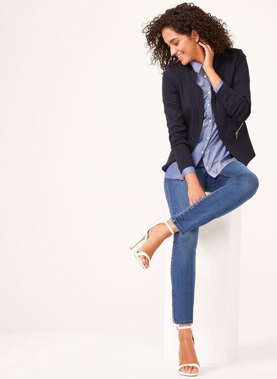 Vex - Veste ouverte à col cranté et détails zippés, Bleu, hi-res