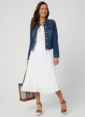 Embroidered Cotton Skirt, White, hi-res