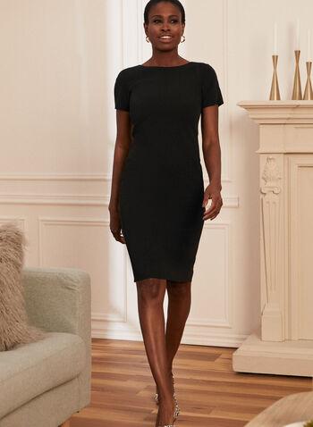Louben - Robe droite à manches courtes , Noir,  fait au canada, louben, printemps été 2021, robe, manches courtes