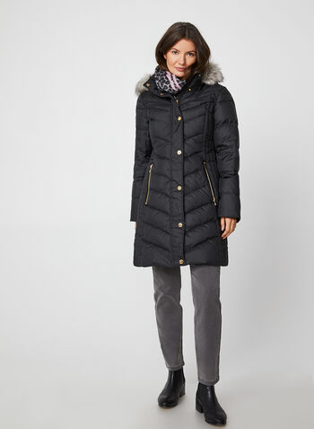 Anne Klein - Removable Hood Quilted Coat, Black,  coat, quilted, faux fur, knit, hood, down, fall winter 2019